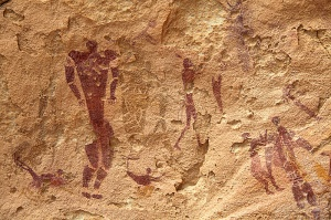Cave paintings including swimmers at Wadi Sura
