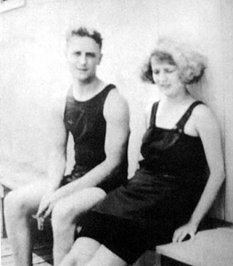 F scott and zelda Fitzgerald in their bathing suits.